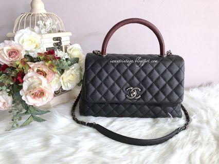 Chanel (A91991) Small Coco Handle Bag in Lizard Handle-Black (Ruthenium)