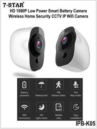 🚚 7-STAR* Battery IP Camera - [Features:Wireless Low-Power Rechargeable Battery Operated, Full-HD 1080P, Weatherproof IP66 indoor/outdoor CCTV, 2-Way Audio, Night-Vision, PIR Motion Detection, APP:VPai Home]