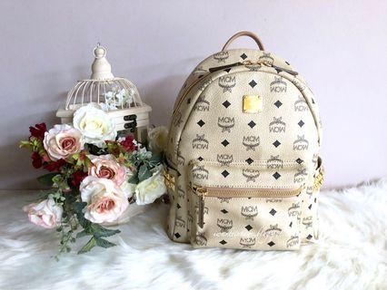 MCM Small 'Stark' Backpack-Beige