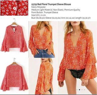 WST 25733 Red Floral Trumpet Sleeve Blouse