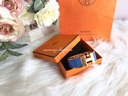 Hermes Clic Clac H Wide Bracelet PM-Transat Blue