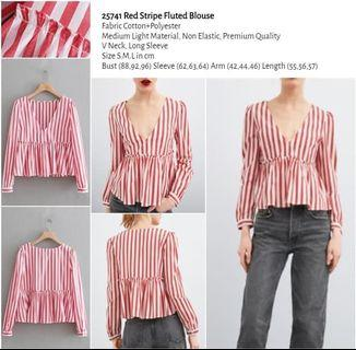WST 25741 Red Stripe Fluted Blouse