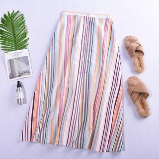 Multi-Coloured Stripes Skirt With Mini Elastic Back Band #ENDGAMEyourEXCESS