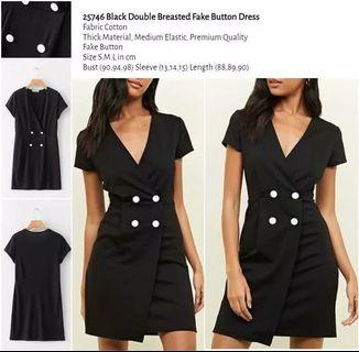 WST 25746 Black Double Breasted Fake Button Dress
