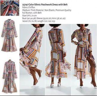 WST 25747 Color Ethnic Patchwork Dress with Belt