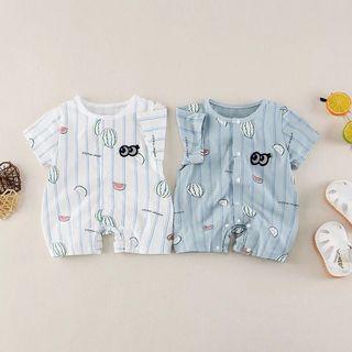 🚚 夏季新款嬰兒連體衣新生兒水果短袖卡通外出服包屁衣