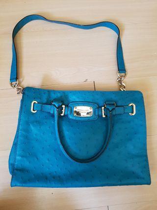 🚚 Michael Kors Ostrich Peacock Blue Bag