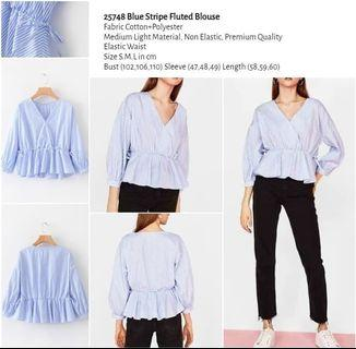 WST 25748 Blue Stripe Fluted Blouse
