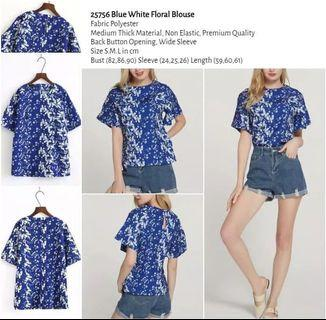 WST 25756 Blue White Floral Blouse