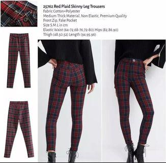 WST 25762 Red Plaid Skinny Leg Trousers