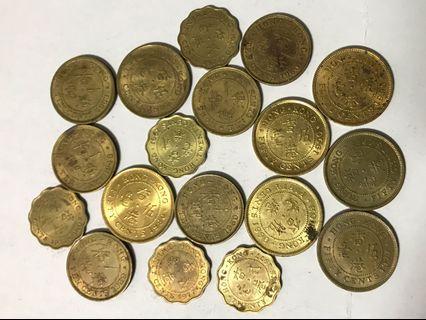 尚算新淨1949-90年香港舊一毫貳毫伍毫合計18個