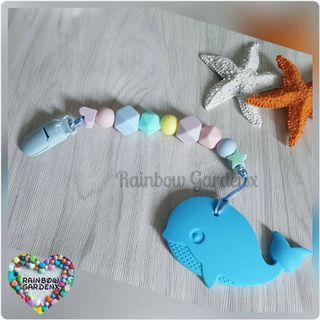 Handmade customised pastel beads Pacifier Clip + Whale teether combo