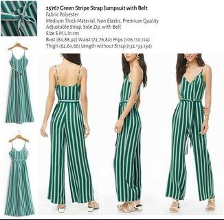 WST 25767 Green Stripe Strap Jumpsuit with Belt