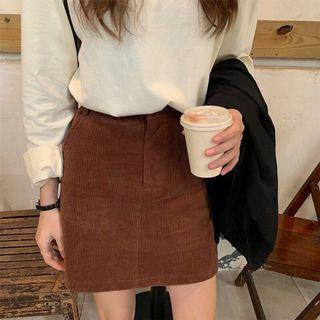 🚚 全新✨韓版燈芯絨高腰A字短裙 咖啡色大地色棕色#半價衣服市集