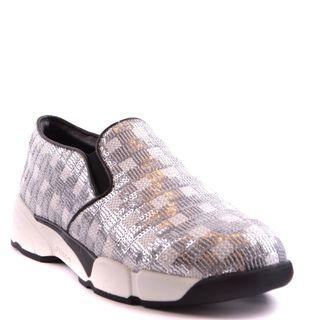 8466903593f PINKO SEQUINS SILVER FABRIC SNEAKER (SIZE 38)