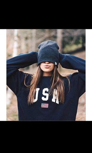 INSTOCK: BLACK USA PULLOVER SWEATER