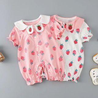 🚚 嬰兒連身衣女夏季新生兒短袖印花薄款包屁爬行服寶寶外出服