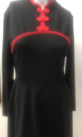 Chinese Colar Black Dress