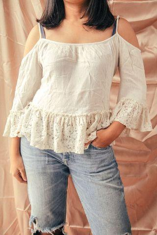 White Sabrina Top with Strings