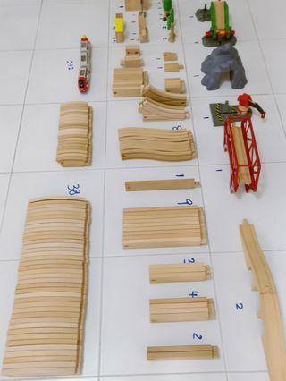 Brio bricks wooden train trail construction ect