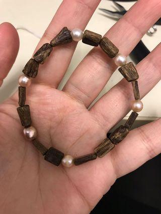 柬埔寨沉香珍珠隨形手串