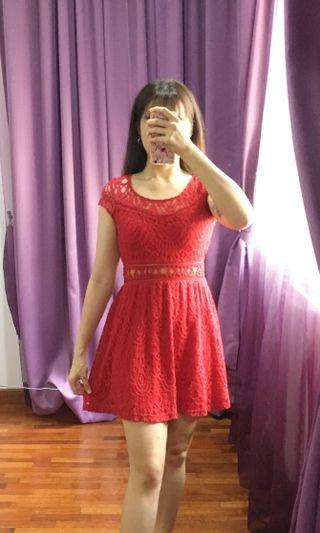 Red Lace dress with zip behind