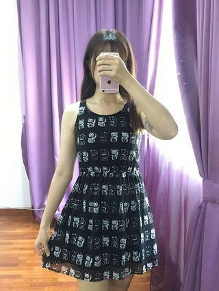 Cat print black dress