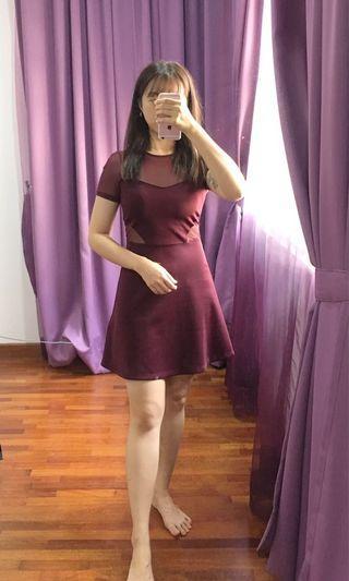 Half transparent maroon dress