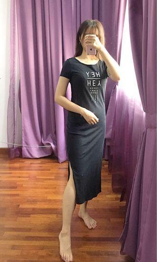 Black long T-shirt dress