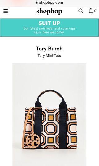100%new 全新 Tory Burch printed mini tote 手提袋配長肩帶 橙 拼 粉紅