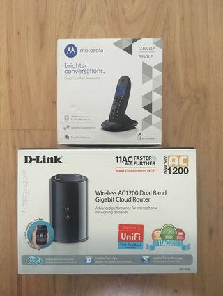 D-Link Router with Motorola Cordless Telephone Combo
