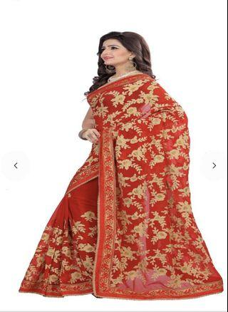 Beautiful Indian sarees with unstitched blouse piece