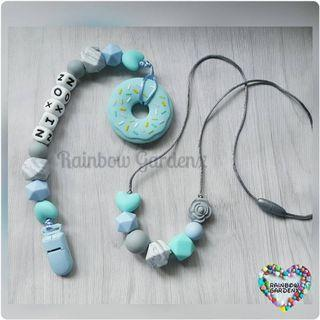 Mummy beads necklace & Pacifier Clip with customisation of name + Turquoise blue Donut teether