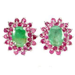 Green Emerald Red Ruby Earrings 925 Sterling Silver