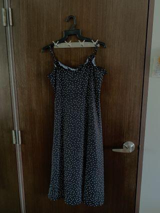 Black midi dress with slit
