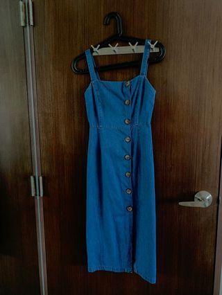 Brand new editors market blue denim button down midi dress