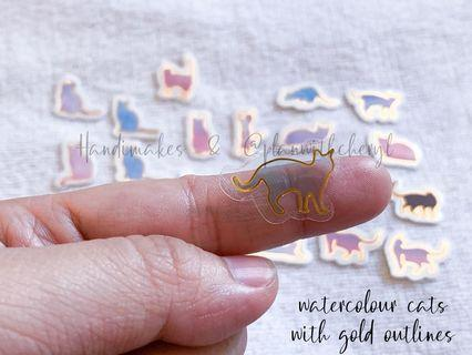 Watercolour Cat Transparent Stickers with Gold Outlines