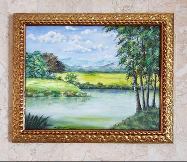 BN Tranquillity Series Oil Painting With Gilded Frame - Teal Green Blue Brown tones