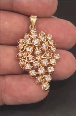 (Sold) Vintage 20k Gold & Diamond Grape Pendant