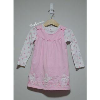 Floral Bunny Baby Pinafore Dress