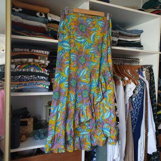 Super funky psychedelic floral print wrap skirt with frills