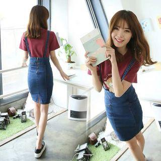 Denim Blue Coloured With Removable Suspender Straps Overall Skirt