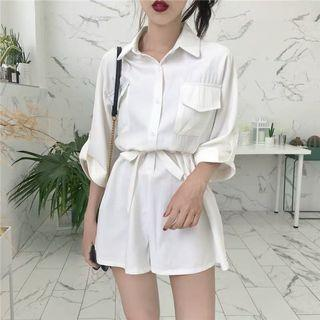 Mono-coloured Buttons Down With Ribbon Bow Waist Tie 3/4 Sleeves Romper