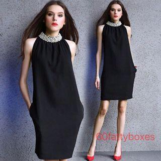 Pearl Beaded Collar Black Dress