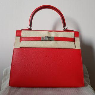 647a15e921a0 NEW HERMES KELLY 25 SELLIER ROUGE DE CEOUR EPSOM PHW STAMP D