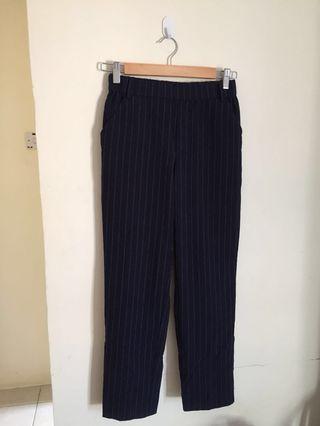 Zara TRF stripe navy pants