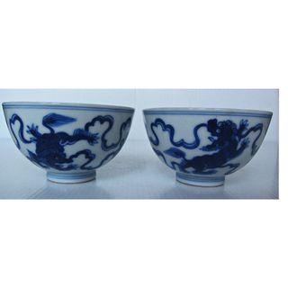 2 Japanese Blue and White Foo Dog Lions Cup (青花双狮舞绣球小杯)