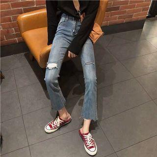 韓版 刷破水洗 顯瘦微喇褲 牛仔褲