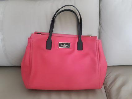 Authentic Kate Spade nylon with saffiano leather trim; pink handbag tote. Selling cheap to clear. Feel free to message me!