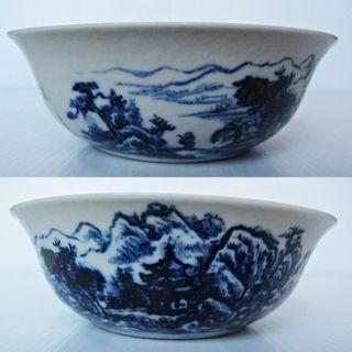 Fine Chinese Blue and White Scenery Shallow Bowl. (青花山水小碗)